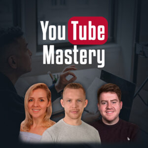 A profile image of Dan, Caroline and Gavin on a faded black background of a man learning online, with the title 'YouTube Mastery' above their heads